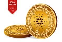 Cardano Crypto devise pièces de monnaie 3D physiques isométriques Devise de Digital Pièces de monnaie d'or avec le symbole de Car illustration libre de droits