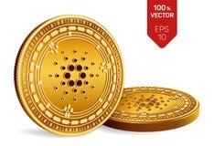 Cardano Crypto devise pièces de monnaie 3D physiques isométriques Devise de Digital Pièces de monnaie d'or avec le symbole de Car illustration de vecteur