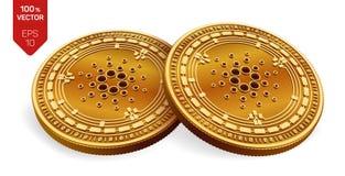Cardano Crypto devise pièces de monnaie 3D physiques isométriques Devise de Digital Pièces de monnaie d'or avec le symbole de Car illustration stock