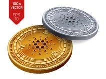 Cardano Crypto devise pièces de monnaie 3D physiques isométriques Devise de Digital Pièces d'or et en argent avec le symbole de C illustration stock