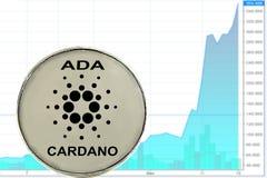 Cardano cryptocurrency νομισμάτων στοκ εικόνα με δικαίωμα ελεύθερης χρήσης