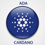 Cardano cryptocurrency blockchain icon. Virtual electronic, internet money or cryptocoin symbol, logo stock illustration
