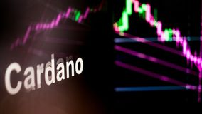 Cardano Cryptocurrency token. The behavior of the cryptocurrency exchanges, concept. Modern financial technologies. stock photo
