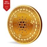 Cardano 3D isometrisch Fysiek muntstuk Digitale munt Cryptocurrency Gouden muntstuk met Cardano-symbool dat op witte backgroun wo Stock Fotografie
