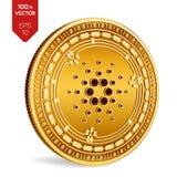 Cardano 3D isometrisch Fysiek muntstuk Digitale munt Cryptocurrency Gouden muntstuk met Cardano-symbool dat op witte backgroun wo Stock Foto