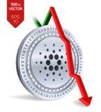 Cardano Daling Rode pijl neer De classificatie van de Cardanoindex daalt op uitwisselingsmarkt Crypto munt 3D isometrisch Fysiek  Royalty-vrije Stock Afbeeldingen