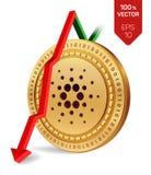 Cardano Daling Rode pijl neer De classificatie van de Cardanoindex daalt op uitwisselingsmarkt Crypto munt 3D isometrische Fysiek Royalty-vrije Stock Afbeeldingen