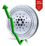 Cardano De groei Groene pijl omhoog De classificatie van de Cardanoindex gaat op uitwisselingsmarkt uit Crypto munt 3D isometrisc Stock Foto's
