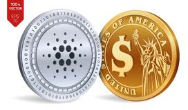 Cardano. Dollar coin. 3D isometric Physical coins. Digital currency. Cryptocurrency. Golden and silver coins with Cardano and Doll. Ar symbol isolated on white Royalty Free Stock Photography