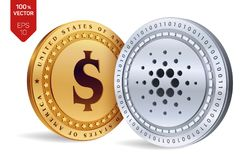 Cardano. Dollar coin. 3D isometric Physical coins. Digital currency. Cryptocurrency. Golden and silver coins with Cardano and Doll. Ar symbol isolated on white Stock Images