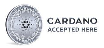 Cardano Emblema accettato del segno Valuta cripto Moneta d'argento con il simbolo di Cardano isolata su fondo bianco 3D Physica i Fotografia Stock Libera da Diritti
