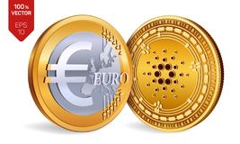 Cardano. Euro Coin. 3D isometric Physical coins. Digital currency. Cryptocurrency. Golden coins with Cardano and Euro symbol isola. Ted on white background stock illustration