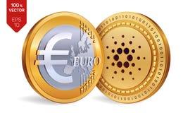 Cardano Euro pièce de monnaie pièces de monnaie 3D physiques isométriques Devise de Digital Cryptocurrency Pièces de monnaie d'or Photographie stock libre de droits