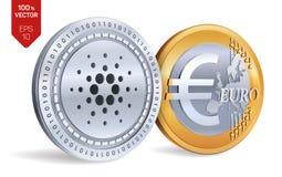 Cardano Euro pièces de monnaie 3D physiques isométriques Devise de Digital Cryptocurrency Pièces d'or et en argent avec Cardano e Images libres de droits