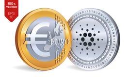 Cardano Euro pièces de monnaie 3D physiques isométriques Devise de Digital Cryptocurrency Pièces d'or et en argent avec Cardano e Image libre de droits