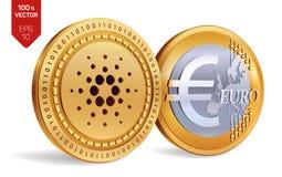 Cardano Euro violento a metà contro vecchia priorità bassa monete fisiche isometriche 3D Valuta di Digital Cryptocurrency Monete  Immagini Stock
