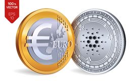Cardano Euro violento a metà contro vecchia priorità bassa monete fisiche isometriche 3D Valuta di Digital Cryptocurrency Monete  Immagine Stock