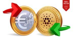 Cardano Euro wymiana walut Cardano menniczy euro Cryptocurrency Złote monety z Cardano i Euro symbol z zielonym i ponownym Zdjęcie Stock