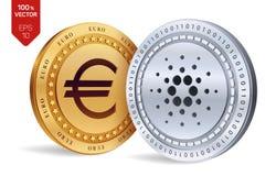 Cardano Euro zerrissen zur Hälfte gegen alten Hintergrund isometrische körperliche Münzen 3D Digital-Währung Cryptocurrency Golde Lizenzfreie Stockfotografie