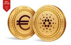 Cardano Euro zerrissen zur Hälfte gegen alten Hintergrund isometrische körperliche Münzen 3D Digital-Währung Cryptocurrency Golde Stockfotografie