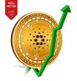 Cardano. Growth. Green arrow up. Cardano index rating go up on exchange market. Crypto currency. 3D isometric Physical Golden coin. Isolated on white background Stock Photos