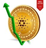 Cardano. Growth. Green arrow up. Cardano index rating go up on exchange market. Crypto currency. 3D isometric Physical Golden coin. Isolated on white background Stock Photography