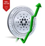 Cardano. Growth. Green arrow up. Cardano index rating go up on exchange market. Crypto currency. 3D isometric Physical Silver coin. Isolated on white background Royalty Free Stock Image