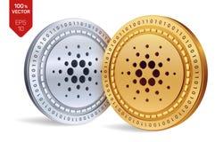 Cardano isometrische körperliche Münzen 3D Digital-Währung Cryptocurrency Goldene und Silbermünzen mit cardano Symbol lokalisiert Stockfotos