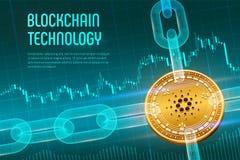 Cardano Moneda Crypto Cadena de bloque moneda de oro física isométrica de 3D Cardano con la cadena del wireframe en fondo financi stock de ilustración