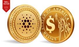 Cardano Moneda del dólar monedas físicas isométricas 3D Moneda de Digitaces Cryptocurrency Monedas de oro con el símbolo i de Car stock de ilustración