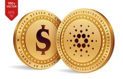 Cardano Moneta del dollaro monete fisiche isometriche 3D Valuta di Digital Cryptocurrency Monete dorate con il simbolo i del doll Fotografia Stock Libera da Diritti