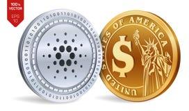 Cardano Moneta del dollaro monete fisiche isometriche 3D Valuta di Digital Cryptocurrency Monete dorate e d'argento con Cardano e Fotografia Stock Libera da Diritti