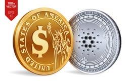 Cardano Schöne vektorabbildung isometrische körperliche Münzen 3D Digital-Währung Cryptocurrency Goldene und Silbermünzen mit Car vektor abbildung