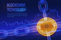 Cardano Schlüsselwährung Block-Kette isometrische körperliche goldene Cardano Münze 3D mit wireframe Kette auf blauem Finanzhinte Lizenzfreies Stockfoto