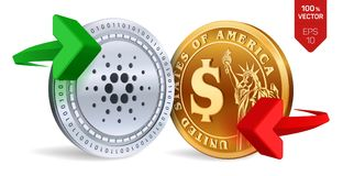 Cardano to dollar currency exchange. Cardano. Dollar coin. Cryptocurrency. Golden and Silver coins with Cardano and Dollar symbol. With green and red arrows. 3D Royalty Free Stock Photos
