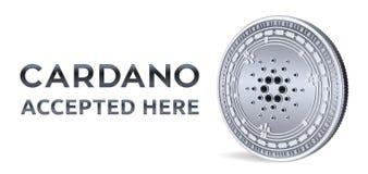 Cardano Toegelaten tekenembleem Crypto munt Zilveren die muntstuk met Cardano-symbool op witte achtergrond wordt geïsoleerd 3D is Stock Fotografie