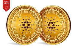Cardano Valuta cripto monete fisiche isometriche 3D Valuta di Digital Monete dorate con il simbolo di Cardano isolate su backgr b Illustrazione Vettoriale