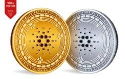 Cardano Valuta cripto monete fisiche isometriche 3D Valuta di Digital Monete dorate e d'argento con il simbolo di Cardano isolate Fotografia Stock Libera da Diritti
