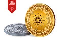 Cardano Valuta cripto monete fisiche isometriche 3D Valuta di Digital Monete dorate e d'argento con il simbolo di Cardano isolate Immagini Stock Libere da Diritti