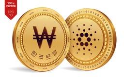 Cardano vinto monete fisiche isometriche 3D Valuta di Digital La Corea ha vinto la moneta Cryptocurrency Monete dorate con Cardan royalty illustrazione gratis