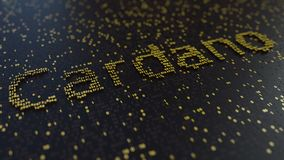 Cardano word made of moving golden numbers. Cryptocurrency mining or transactions related conceptual animation