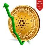 Cardano wzrost zieleń strzała zieleń Cardano wskaźnika ocena iść up na wekslowym rynku Crypto waluta 3D isometric Fizyczna Złota  ilustracja wektor