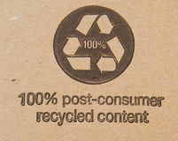 Cardboard. A recycled symbolic on cardboard shipping Stock Images