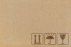 Brown cardboard texture with icons stock illustration