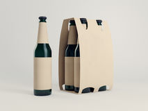 Cardboard beer packaging. Mockup of green bottles on white floor. 3d rendering Stock Images