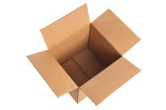 Cardboard Box. Open and Empty Cardboard Box isolated on a white background Stock Photography