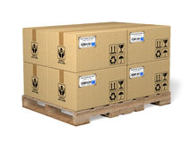 Cardboard box. Very high resolution 3d rendering of cardboard boxes on a palette royalty free illustration
