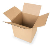 Cardboard Box. With Shadows and isolated on white Royalty Free Stock Images