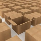 Cardboard box. Opened cardboard box and some clossed boxes stock illustration