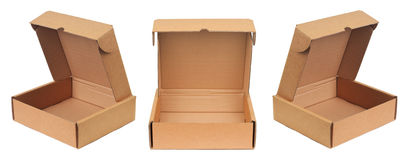Cardboard box. Opening empty carton. Isolated on white background. Cardboard boxes are meant for transportation and storage of goods Royalty Free Stock Photo